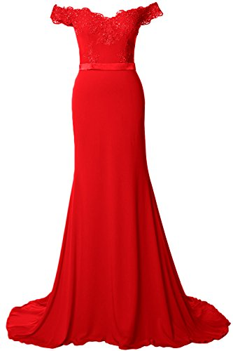MACloth Off the Shoulder Long Prom Dress Gorgeous Jersey Evening Formal Gown red