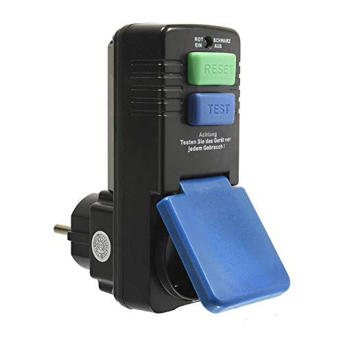 as – Schwabe Personenschutz-Zwischenstecker 30 mA – Schuko 230 V, 16 A max. 3500 W Leistung – Personenschutz-Stecker zum Schutz vor Stromschlägen - Funktionsanzeige und Testschaltung – IP44 I 45230
