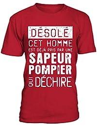 teezily T-Shirt Homme Sapeur Pompier - Exclusif LIMITÉE f73bae7d6d6c