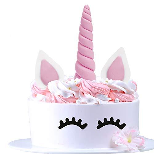 AIEX Cake Topper Rosa Einhorn Kuchendeko für Geburtstag Hochzeit Party Niedlich kuchendekoration, Ohren und Wimpern Kuchen Torte Deko(5 Stück) (Rosa Kuchen-topper)