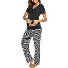 Conjunto de Pijama Mujer Embarazada LANSKIRT Ropa de Mujeres Camiseta de Maternidad de Manga Corta con