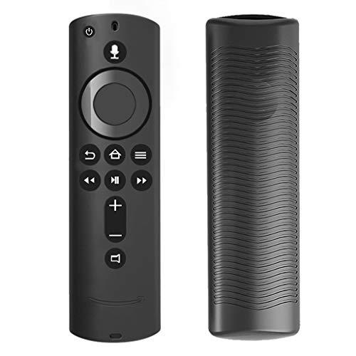 Kompatibel mit Amazon Fire TV Stick 4K TV-Stick-Fernbedienung Hülle,Colorful 2 Pack Leichte rutschfeste Stoßfeste Silikon Schutzhülle für Fire TV Stick 4K TV-Stick-Fernbedienung (Schwarz) -