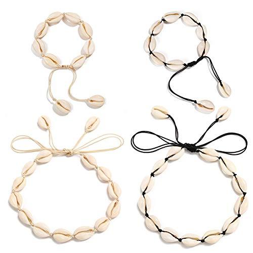 INTVN 4 Stücke Shell Halskette Shell Choker Handgemachte Strand Halskette Einstellbare Armband Fußkettchen Armband Schmuck für Mädchen Lady Boho Schlüsselbein