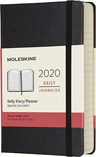 Moleskine 12 Mesi 2020 Agenda Giornaliera, Copertina Rigida e Chiusura ad Elastico, Colore Nero, Dimensione Pocket 9 x 14 cm, 400 Pagine