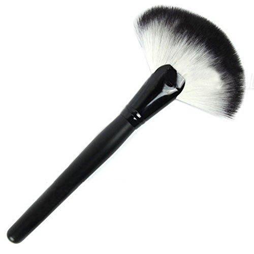 PRO Pinceaux de Maquillage Grand Fan Goat cheveux doux visage poudre Fondation brosse cosmétiques outils Schwarz-Weiß