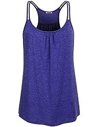 Hibelle Damen O-Neck Stretch Sport Top Cute Racerback Yoga Workout Sommer  Shirts 16f6c4f8c1