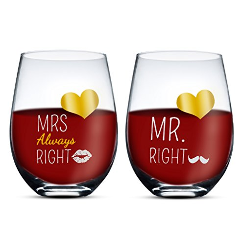 Gifffted Mr Right y Mrs Always Right Stemless Copas de Vino para Parejas, Regalos De Boda Aniversario, Marido y Esposa, Vaso, 500 ML, Juego De 2