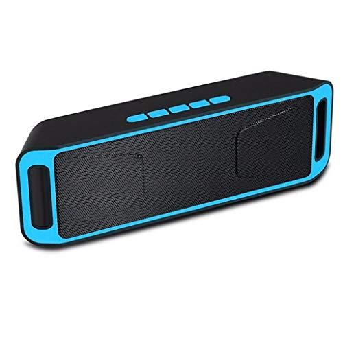 GJF Bluetooth-Lautsprecher Tragbarer Mini-Outdoor-Audio-Wireless-Kartenlautsprecher Doppel-Lautsprecher-Subwoofer (Farbe: Rot) (Color : Blue) (Rot 10 Subwoofer)