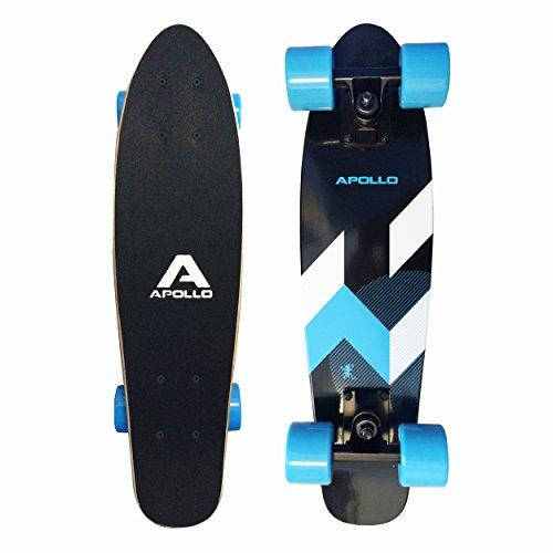 Fancy Board Apollo - Matei Mini - Tavola cruiser completa vintage | Dimensioni: 22'' (57,15 cm) | Colore: blu / nero | Skateboard piccolo e maneggevole