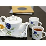 Kittens Blue Floral Family Tea Set Of 4 Bone China Cups With Kettle
