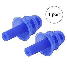 1paio anti rumore orecchio Plug, riutilizzabile in silicone tappi per le orecchie per dormire (blu)