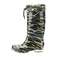 LvRao Mens Detachable Plush Warm Winter Snow Rain Booties Drawstring Wellies Boot Wellington Boots