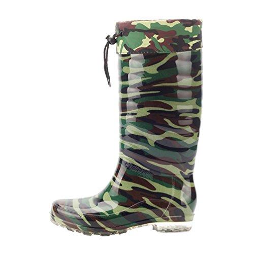 LvRao Herren Abnehmbar Plüsch Warm Winter Schnee Regen Booties Kordelzug Gummistiefel Regenstiefel Garten Stiefel (Tarnung, EU 40/CN 41)