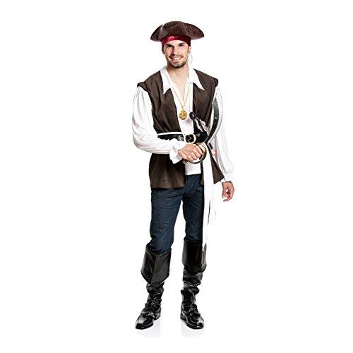 Weiß Stiefel Herren Kostüm - Kostümplanet® Piraten-Kostüm Herren Pirat + Stiefel-Stulpen + Kopftuch + Hemd + Schärpe Größe 56/58
