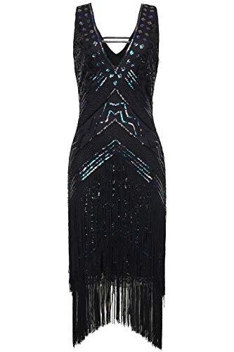 Coucoland 1920s Kleid Damen Flapper Charleston Kleid Sexy V Ausschnitt Great Gatsby Motto Party Damen Fasching Kostüm Kleid (Bunt Schwarz, L)