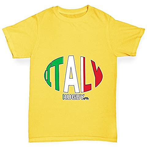 Twisted Envy Boy's Italy Rugby Ball Flag Funny Cotton Yellow T-Shirt Age 7-8