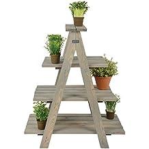 Esschert Diseño Planta Escalera, 62x 39x 73cm, en madera, 4pisos, escalera de madera