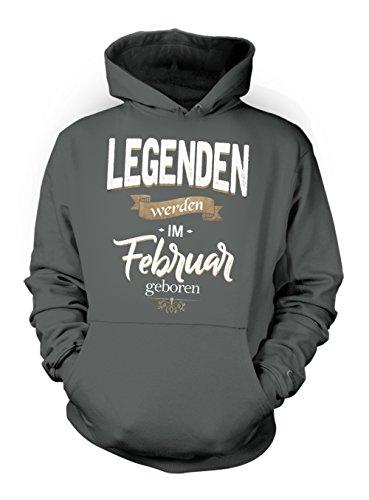 Legenden Werden Im Februar Geboren Geburtstag Geschenk Herren Hoodie Sweatshirt Schiefergrau X-Large (Tattoo Sleeve Tee Short)