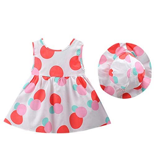 LEXUPE Infant Baby Mädchen Kleidung Set Kurzarm Rundhals Rose Print Strampler Rüschen Plissee Solid Color Rock Outfit Set 2 Stücke für 0-18 Monate(Rot-A,110/12)
