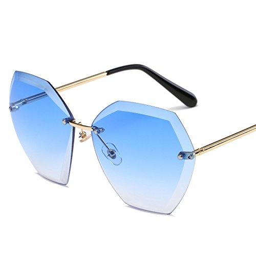 JUNHONGZHANG Sonnenbrille Große Box Trimmen Sonnenbrillen Fashion Ocean Film Gradienten Metall Sonnenbrille, Gold Frame Gradienten Blau