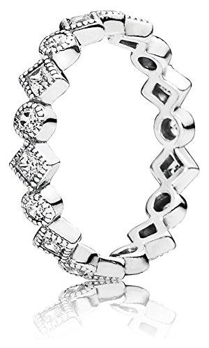 Pandora Damen-Ring Kreise und Quadrate 925 Silber Zirkonia weiß Gr. 54 (17.2) - 190943CZ-54