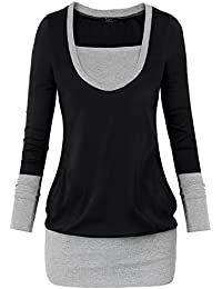 DJT T-shirt - Uni - Manches Longues pull-over Tops Epissure Femme