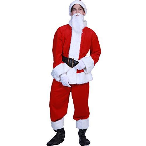 Unbekannt Männer Luxus Santa Suit 7PC, Weihnachts-Erwachsene Santa-Kostüm, Professioneller Weihnachtsanzug Weihnachtskleid Eine Größe