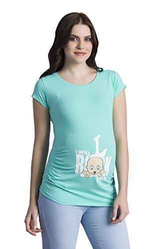 I Will Rock You - Witzige Süße Umstandsmode T-Shirt mit Motiv Schwangerschaft, Kurzarm (Small, Mint) (Black T-shirt Tee-small Lustige)