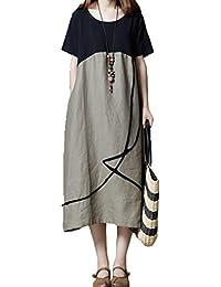 6fee31d3999b9 yulinge Robe en Coton Et des Manches Courtes Robes De Midi De Changement