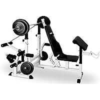 Klarfit KS02 Banco de musculación multifunción • Aparato de Entrenamiento con cargas guiadas • Banco de pesas, press de banca, remo, curler piernas • Carga máxima 280 kg • Estable • Acero • Blanco