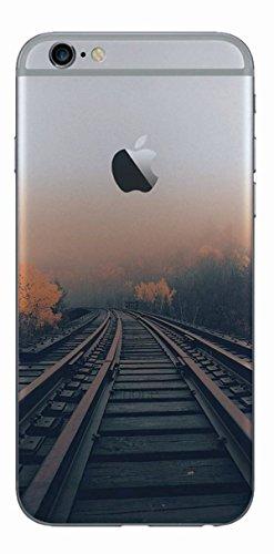 MPPK-Hamburg ® Apple iPhone ® 6 / 6s 4,7 Zoll Schutz Hülle - Case in wunderschönem Design – Stabiles / transparentes PC - Verschneites Gebirge Schienen im Nebel