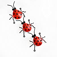 "Metal Animal Wall Art Decor Outdoor and Indoor Decorative Ladybug , Outdoor Decoration Wrought Iron and Decor Metal Wall Sculptures Hanging ,Each Dimension 5.5"" x 5"",Total 3pieces from Love MetalArt"