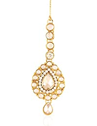 I Jewels Traditional Gold Plated Maang Tikka for Women T005W (White)