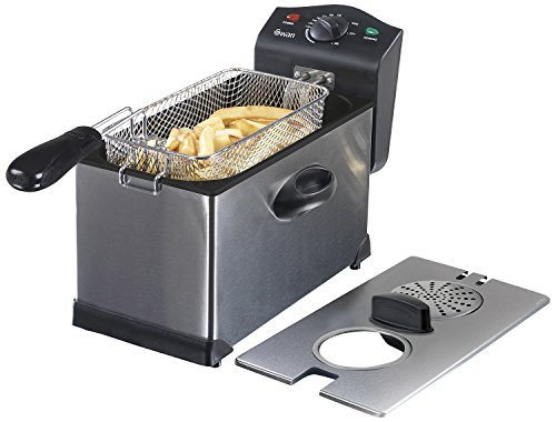 413QRkDqZdL - Swan 3L Stainless Steel Deep Fat Fryer with Viewing Window and Safety Cut Out, Non-Slip, Easy Clean and Adjustable Temperature Control, 2kW, SD6040N, 2000 W, 3 liters, Silver