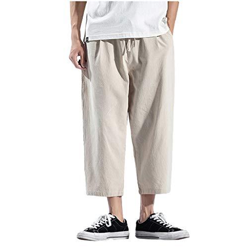 SoonerQuicker Jogger Pants Herrenriemen Vintage Lose Baumwolle Leinen Reine Farbe Patchwork KnöChellange Hose Weiß M Silk Blend Hose