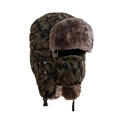 YEBIRAL Unisex Winter Warme Camouflage Verdicken Windproof Kälteschutz Maske Im Freien Pelz Hüte Caps(Einheitsgröße,Grün)