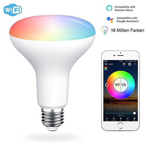 HaoDeng LED WLAN Smart 11W Lampe WIFI RGBWW Beleuchtung dimmbar Energiesparlampen, mit Alexa&Google Home&IFTTT,Sunrise Farbige Leuchtmittel Sonnenaufgang, Smart E27 16 Mio Farben für Android und IOS
