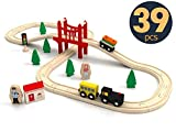 Tiny Land Wooden Train Set for Toddler, Toy Tracks & Engine Starter Pack