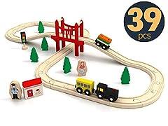 Idea Regalo - Tiny Land® Pista Treno in Legno, Set Ferrovia in Legno (39 PCS)