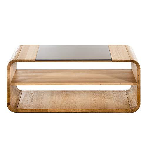 Alkove - Hayes Ema - Table basse en bois massif avec plateau en verre et roulettes, Chêne sauvage