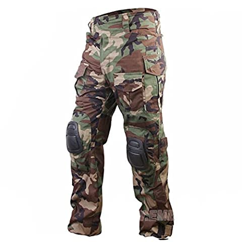 H World EU EMERSON Tactical Airsoft Paintball Army Military Shooting BDU Men Gen3 G3 Combat Pants Trousers with Knee Pads (Woodland, S)