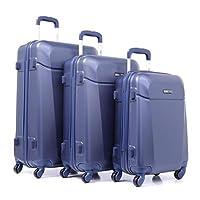 PARAJOHN Hardside 3-Piece Trolley Luggage Set Blue
