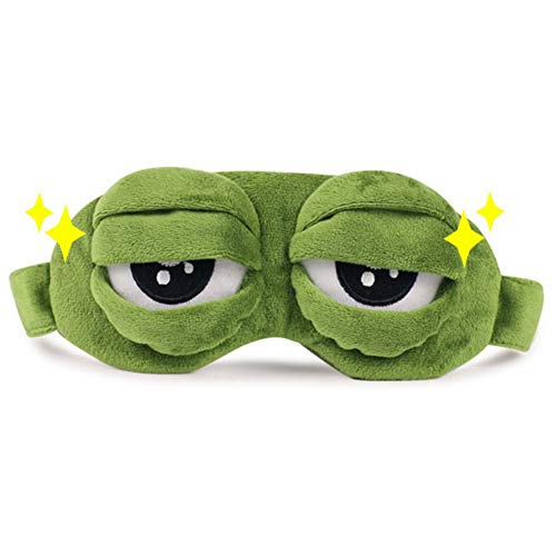Urmagic Lint Cartoon Eye Mask Pepe The Frog Grün Maske Sleeping Funny Novelty Cover Eyeshade Naptime Ugenmaske Travel