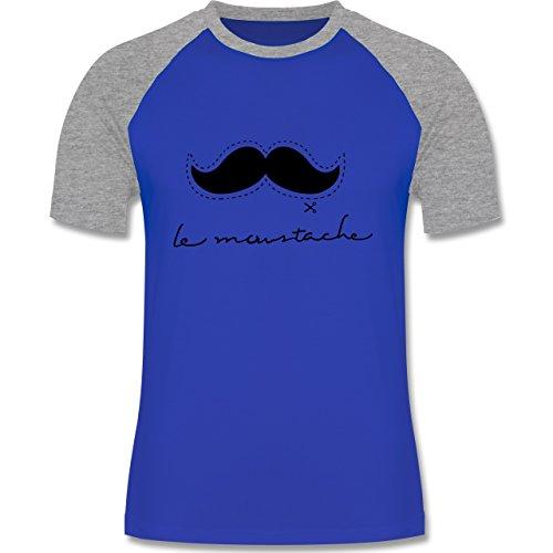 Hipster - le moustache - zweifarbiges Baseballshirt für Männer Royalblau/Grau meliert