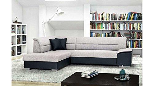 JUSTyou Verso Canapé d'angle Sofa canapé lit Tissu structuré Simili Cuir (HxLxl): 87x265x87 cm Gris Noir Angle Gauche