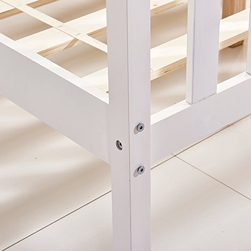 Willstone Wooden Bed Frame Solid Pine Wood Bedstead for Home Bedroom Children Bedroom (4FT6, White)
