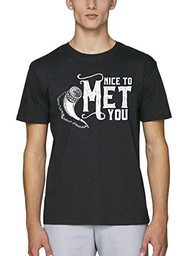 clothinx Herren T-Shirt Bio und Fair Nice to Met You - Honigwein Schwarz Gr. XXL