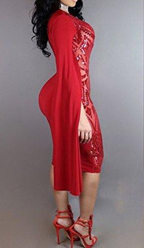 Blansdi Damen Elegant Pailletten V-Ausschnitt Langarm Knielang Bodycon Cocktailkleid Etuikleid Partykleid Bleistiftkleid Festlich Ballkleid Rot