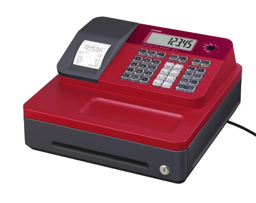 Casio SE-G1SB-RD Registrierkasse mit kleiner Geldlade, Thermodruck Kundenanzeige, rot