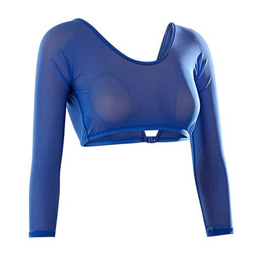 Mitlfuny Figurformende Shapewear Damen,Nahtlose, langärmlige Unterhemden mit Arm-Unterwäsche aus Mesh Plus Size Seamless Arm Shaper Kurzer Navel Mesh Strickjacke -